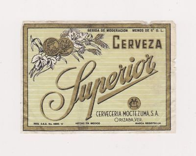 1940s SUPERIOR CERVEZA beer label from MEXICO!
