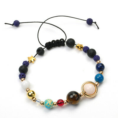 Charm Bracelet Galaxy Solar System Eight Planets Theme Natural Stone Beaded New