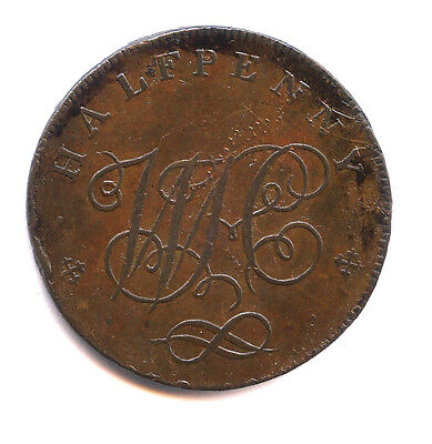 1797 British ½ Penny Conder, A Staffordshire Knot, Staffordshire Dh 21
