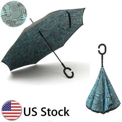 C-Handle Better Brella Inverted 2 Layer Upside Reverse/Down Open Umbrella UV USA