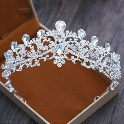 Drip Clear Crystal 6.5cm High Adult Wedding Party Pageant Prom Tiara Crown