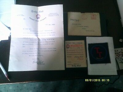 Teddy Tail Letter Mem. card cloth badge dated 1933 in incredible condition env.