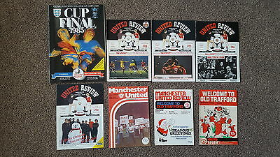MANCHESTER UNITED V EVERTON x 8 PROGRAMMES INCL 1985 FA CUP FINAL
