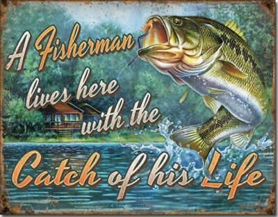 weldon bait tackle fly fishing rustic nostalgic metal sign cottage cabin decor