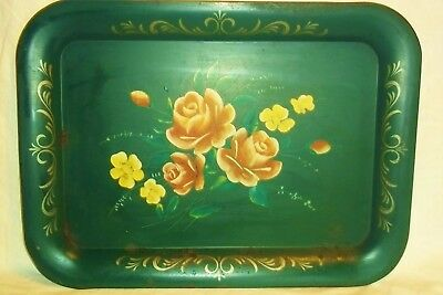 Vintage Hand Painted Green Toleware Tray With Cabbage Roses