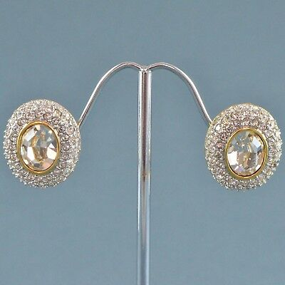 Vintage Earrings 1970s Clear Crystal Goldtone & Silvertone Bridal Jewellery