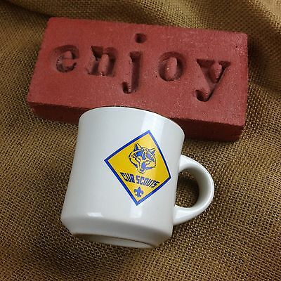 BSA CUB SCOUTS OF AMERICA Logo Scoutmaster Coffee Mug With Gold Trim Rim Vintage