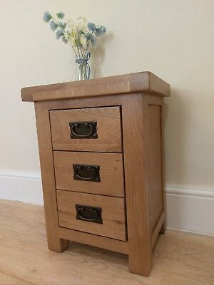 Montreal Oak 3 Drawer Bedside Table / Chunky Solid Bedroom Lamp Table Nightstand