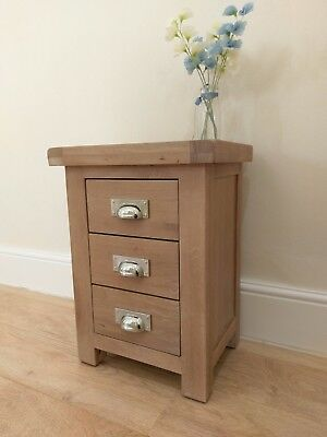 Vermont Chunky Industrial Oak Bedside Cabinet / Solid Wood Bedroom Lamp Table