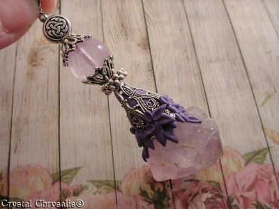 Celtic Antique Silver Victorian Huge Amethyst Crystal Point Pendant Pendulum