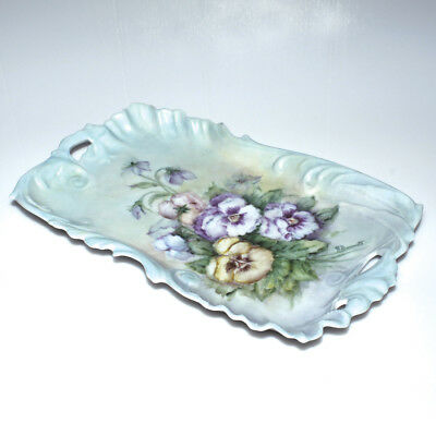 Antique R. Bennett Hand Painted Porcelain Tray