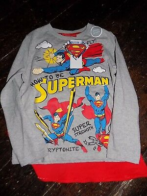 Bnwt Tesco Boys Superman Long Sleeved T Shirt Top  New With Cape Aged 6-7 Years