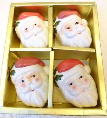 Vtg Santa Face Napkin Rings Set Of 4 Fitz & Floyd In Box Euc Bloomingdales