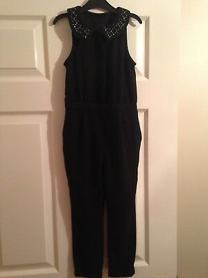 Girls NEXT Black Jumpsuit with Sparkly Collar, Age 6