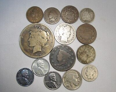 Vintage US Coin Lot 14pc Large Cent Steel Silver Seated Barber Peace C428