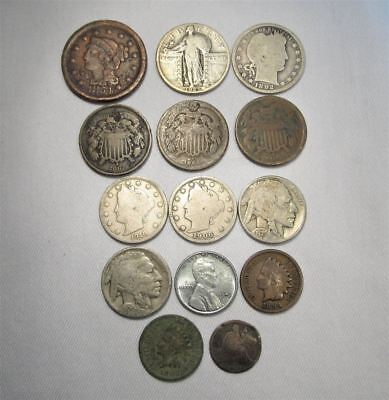 Vintage US Coin Lot 14 Pc Large Steel Shield Liberty Silver Barber C659