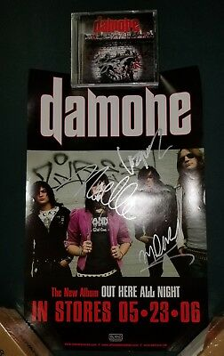 DAMONE Autographed Poster and CD Insert,, OUT HERE ALL NIGHT