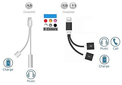 2in1 Lightning to 3.5mm Audio Headphone Adapter Charger Cable For iPhone 7 plus