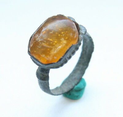 Ancient Medieval Bronze Finger Ring With Amber Inlay (MAY25)