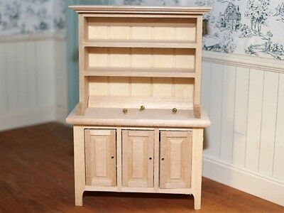 Kitchen / Dining Room Bare Wood Dresser, Dolls House Miniature Furniture