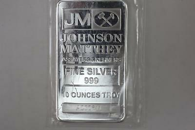 10 oz Johnson Matthey Silver Bar .999 Fine - SEALED!