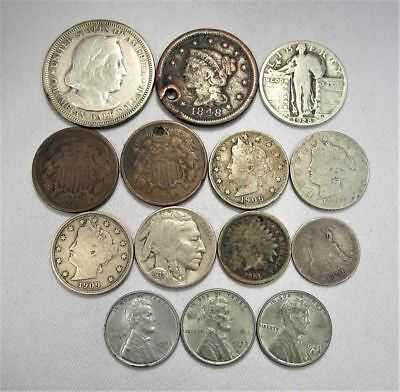 Vintage US Coin Lot 14pc Large Indian Liberty Silver Standing Columbian C677