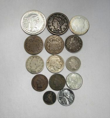 Vintage US Coin Lot 14pc Large Indian steel Liberty Silver Barber Booker T C670