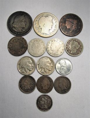 Vintage US Coin Lot 14pc Large Indian steel Liberty Silver Barber Columbian C671