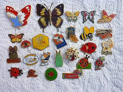 Lot  pin's insectes coccinelle abeille papillon avec attaches