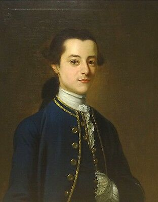 Large 18th Century American Navy Officer Gentleman Portrait Antique Oil Painting