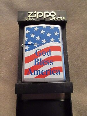 Vintage God Bless America Zippo Lighter Flag Free Shipping New In Box Usa 205