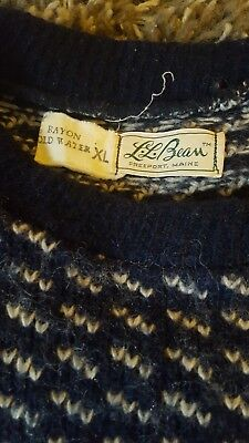 Vintage LL Bean Made in Norway Nordic Birdseye Wool Rayon Sweater Men's XL