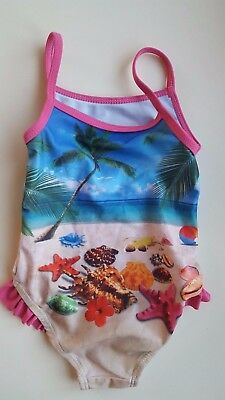MOTHERCARE baby girl 12-18 months blue pink beach one piece swimming costume