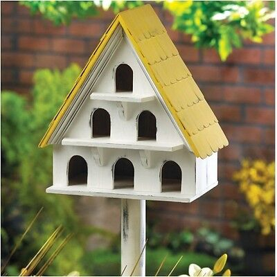 Vintage Style 3 Level Wooden Birdhouse With 6 Holes And Pole