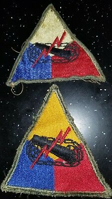 WWII Army Yellow Apex German Made Greenback  Armor Division Patch Lot x2 No Glow