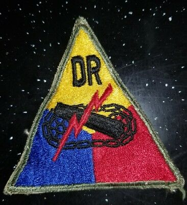 WWII US Army DR Demonstration Regiment Armor Division Patch No Glow