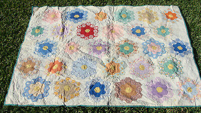 """1930s Flower Garden all hand quilted crib quilt, 47"""" x 34"""", no reserve *"""