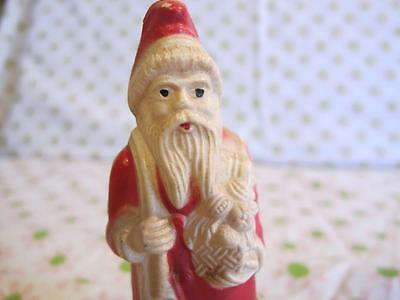 """FREE s&h // (1) 4"""" vintage IRWIN celluloid SANTA CHRISTMAS FATHER red off-white"""