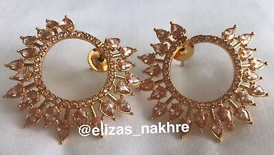 White Antique Polki earrings Jewellery Indian/Pakistani Bollywood Style Party