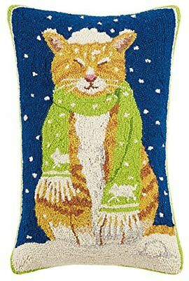 Peking Handicraft Cat with Scarf Hook Wool Lumbar Pillow, Multicolored