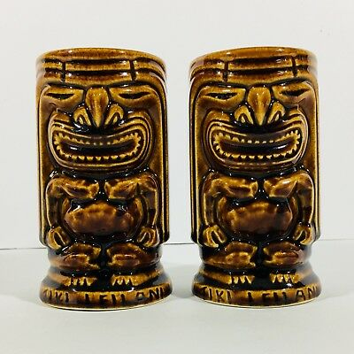 2 Vintage Tiki LeiLani Mugs Cups Glasses Hawaiian