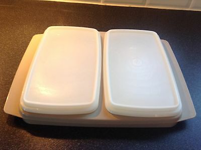 Vintage Tupperware Deli / Cold Cut 2 Serving containers with lids in beige tray