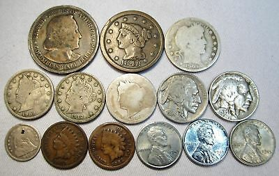 Vintage US Coin Lot 86 14pc Large Indian Liberty Silver Seated Barber Columbian
