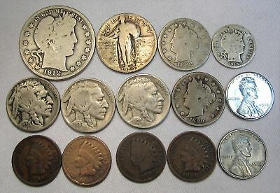 Vintage US Coin Lot 87 14pc Indian Steel Liberty Silver Buffalo Barber Standing
