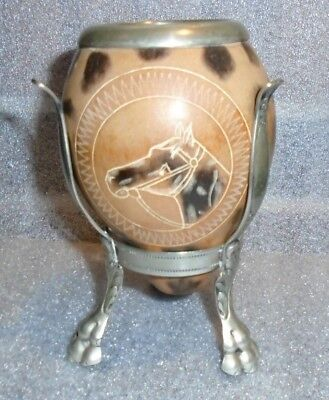 fine antique Yerba Mate gourd cup sterling silver lion foot stand
