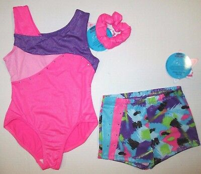 New Girls XS 4-5 Child Leotard Shorts Set Dance Gymnastics Pink Moret Lot