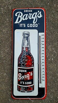 """Vintage Barq's Root Beer Soda  25 1/2""""  Metal Thermometer Sign Donasco 4-55 Date"""