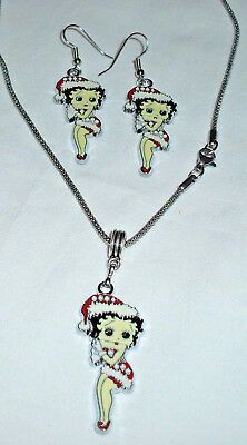 Betty Boop Red Christmas Charm/Pendant Necklace and Earrings Handcrafted