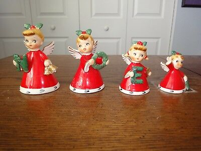 4 Vintage Napco Japan Ceramic Christmas NOEL Angel Bells
