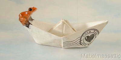 New Handpainted I Love You Red Orange Tree Frog in Paper Boat Frogs Fairy Garden